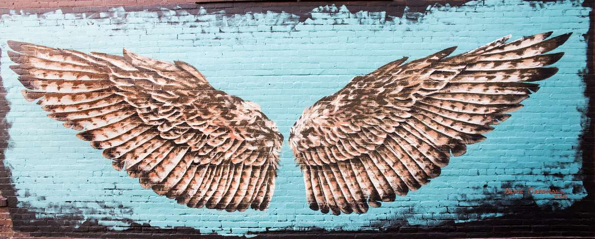 Red-tail hawk wings painted over a brick wall backdrop. Photo Credit: Bob Loewen